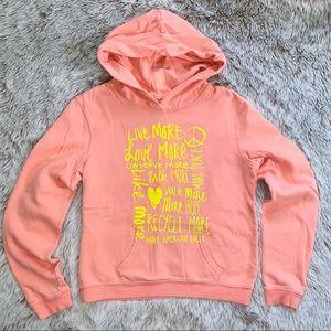 AEO Soft Peach Hoodie w/ Neon Yellow Screen Print